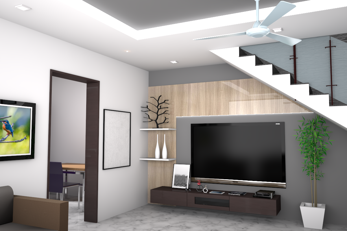 Living room design with tv unit and false celing